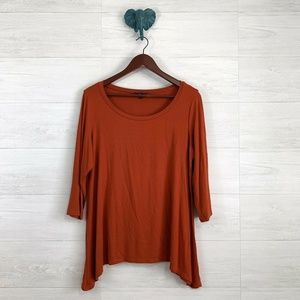 Eileen Fisher Burnt Orange Curve Hem Knit Top
